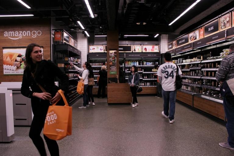Una foto de 2019 de la tienda Amazon Go, sin cajeros