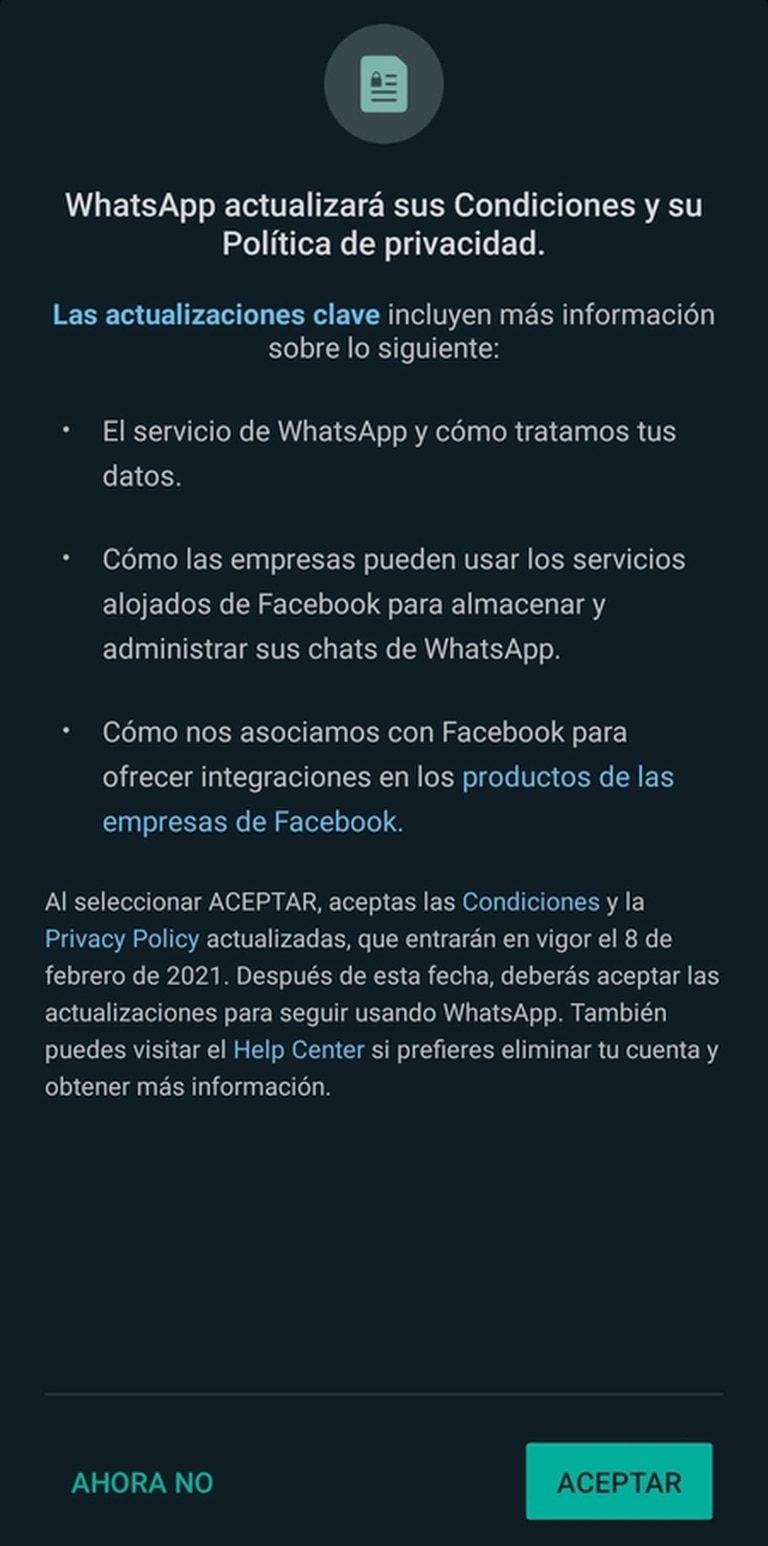 El pedido de autorización que aparece en Whatsapp; a partir del 8 de febrero será obligatorio aceptarlo para seguir usando la aplicación