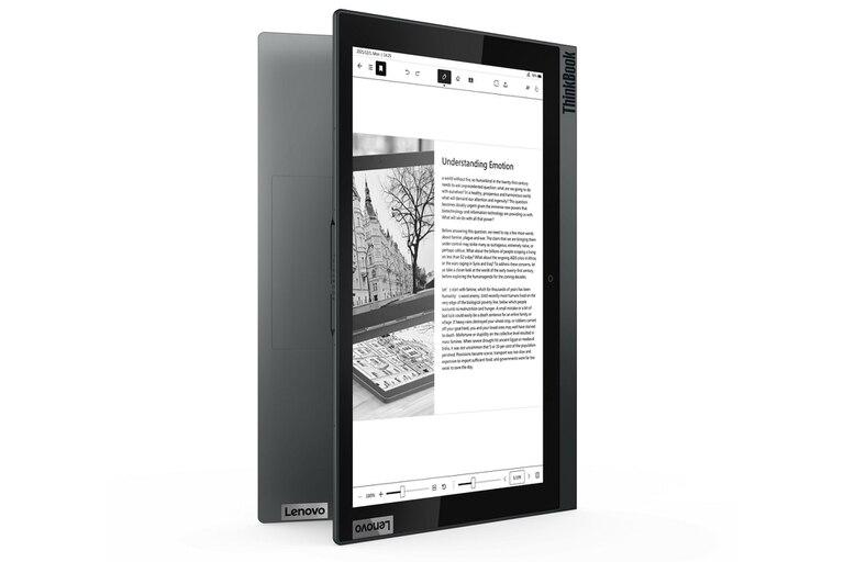 Usando la pantalla de tinta electrónica la Lenovo Thinkbook Plus tiene una autonomía de un día continuo de uso; la pantalla es sensible al tacto y se puede dibujar en ella